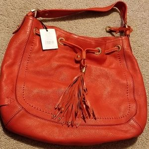 Cole Haan Leather Drawstring Saddle Orange
